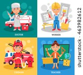 professions for kids 2x2 flat... | Shutterstock .eps vector #463982612