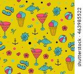 summer set doodle pattern. sea  ... | Shutterstock .eps vector #463985522
