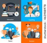 flat design 2x2 concept icons... | Shutterstock .eps vector #463988978