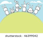 Easter Bunnies On A Hill