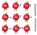 set of cartoon apple characters ... | Shutterstock .eps vector #463990532