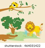 vector cute lion and tiger and...   Shutterstock .eps vector #464031422