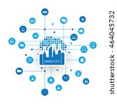 smart city design concept with...   Shutterstock .eps vector #464045732