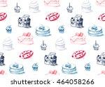 tasty cakes seamless pattern.... | Shutterstock .eps vector #464058266