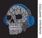 music skull headphones... | Shutterstock .eps vector #464072012