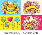 vector creative colorful set of ... | Shutterstock .eps vector #464101928