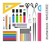 stationery objects set.... | Shutterstock .eps vector #464115302