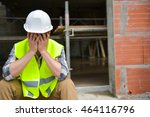 distraught construction worker... | Shutterstock . vector #464116796