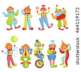 Set Of Colorful Friendly Clown...
