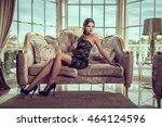 elegant woman in a short... | Shutterstock . vector #464124596