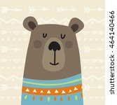 cute pattern with cute bear and ... | Shutterstock .eps vector #464140466