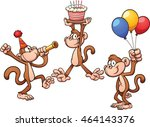 cartoon birthday monkeys.... | Shutterstock .eps vector #464143376