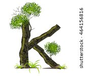 leaves and tree font  on white...   Shutterstock .eps vector #464156816