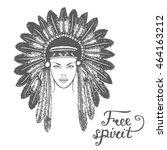 hand drawn illustration. tribal ... | Shutterstock . vector #464163212