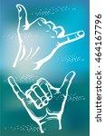 surfer's shaka hand sign | Shutterstock .eps vector #464167796