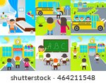 small pupils go to the first... | Shutterstock .eps vector #464211548