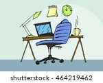 workplace with laptop and... | Shutterstock . vector #464219462