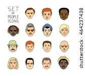hand drawn people crowd doodle... | Shutterstock .eps vector #464237438