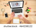 video conference  education... | Shutterstock . vector #464238122