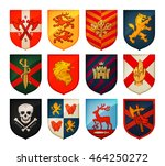 collection of medieval shields... | Shutterstock .eps vector #464250272