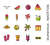 summer vector icon set | Shutterstock .eps vector #464257106
