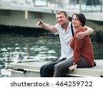 laughing mature couple in love... | Shutterstock . vector #464259722