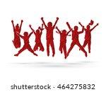 group of children jumping  ... | Shutterstock .eps vector #464275832