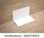 two white business cards on the ... | Shutterstock . vector #464276912