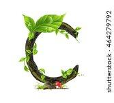 green leaves font. vector... | Shutterstock .eps vector #464279792