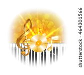 golden musical vinyl plate with ... | Shutterstock .eps vector #464301566
