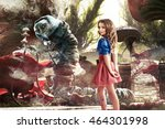 Stock photo alice in wonderland fairy tale very beautiful young girl in the fairy forest of alice in 464301998