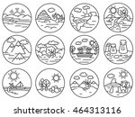 landscapes icons set. nature... | Shutterstock .eps vector #464313116