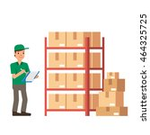 warehouse inventory and... | Shutterstock .eps vector #464325725