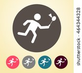 badminton player icon in round... | Shutterstock .eps vector #464344328