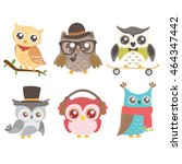 set of cute owls isolated on... | Shutterstock .eps vector #464347442