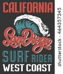 san diego big wave surf rider...   Shutterstock .eps vector #464357345