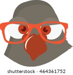 Pigeon Face with a hipster eyeglasses on. Vector illustration of a Dove. Postman/mailman bird. Funny cute bird.  - stock vector
