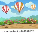 spring landscape with hot air... | Shutterstock .eps vector #464390798