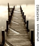 wooden jetty at a little lake... | Shutterstock . vector #464393852