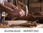 hands of craftsman carve  with... | Shutterstock . vector #464407262