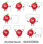 set of cartoon red apple... | Shutterstock .eps vector #464430806