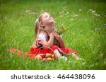 beautiful little girl picking... | Shutterstock . vector #464438096