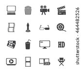 movie icons set. vector... | Shutterstock .eps vector #464482526