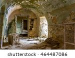 Small photo of Old abandoned castle, ruined military base