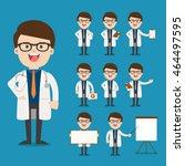 doctor presenting in various... | Shutterstock .eps vector #464497595