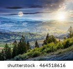day and night composite image of Classic Carpathian mountains landscape in summer. Spruce forest on the edge of hillside over the valley panoramic view - stock photo