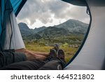 two people lying in tent with a ... | Shutterstock . vector #464521802