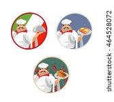 cartoon chef italian cuisine... | Shutterstock .eps vector #464528072