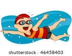 boy swimming   vector | Shutterstock .eps vector #46458403