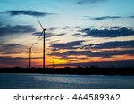 silhouette of wind turbine at... | Shutterstock . vector #464589362